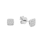 White Gold Square Cluster Diamond Pave Earrings