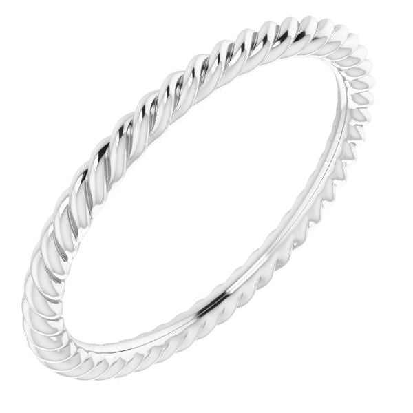 White Gold 1.5mm Skinny Rope Band