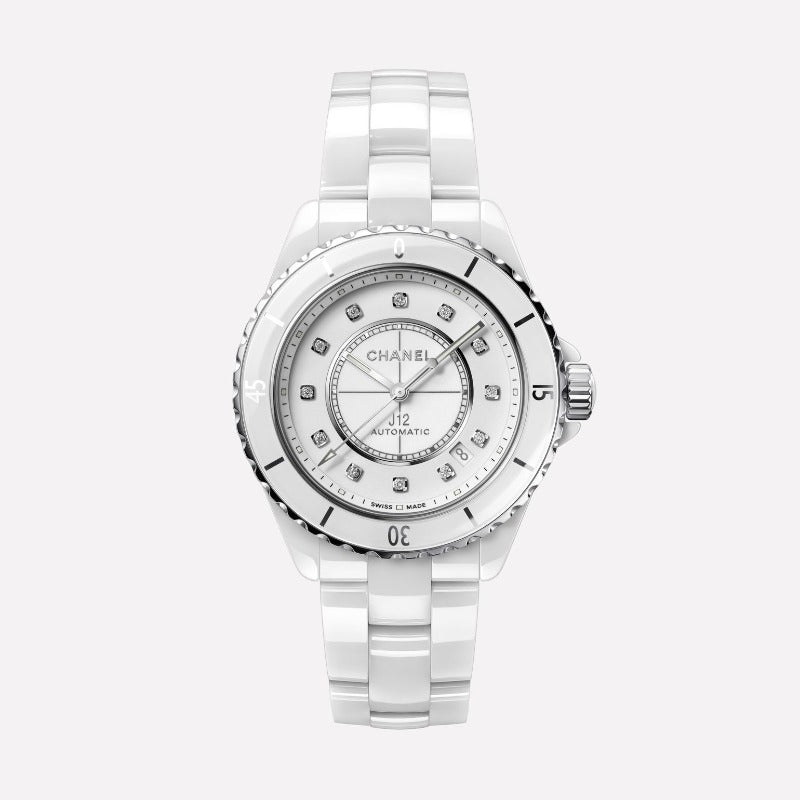 Chanel J12 White Ceramic Automatic 38mm Diamond Dial Watch H5705