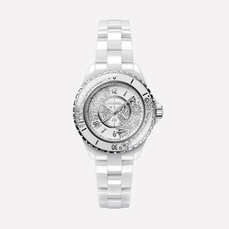 Chanel J12 White Ceramic Automatic 33mm Diamond Doodle Dial Watch H6477