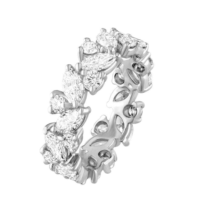 18kt White Gold Marquise and Round Diamond Eternity Band
