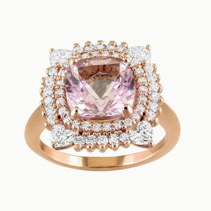 18kt Pink Morganite and Diamond Ring