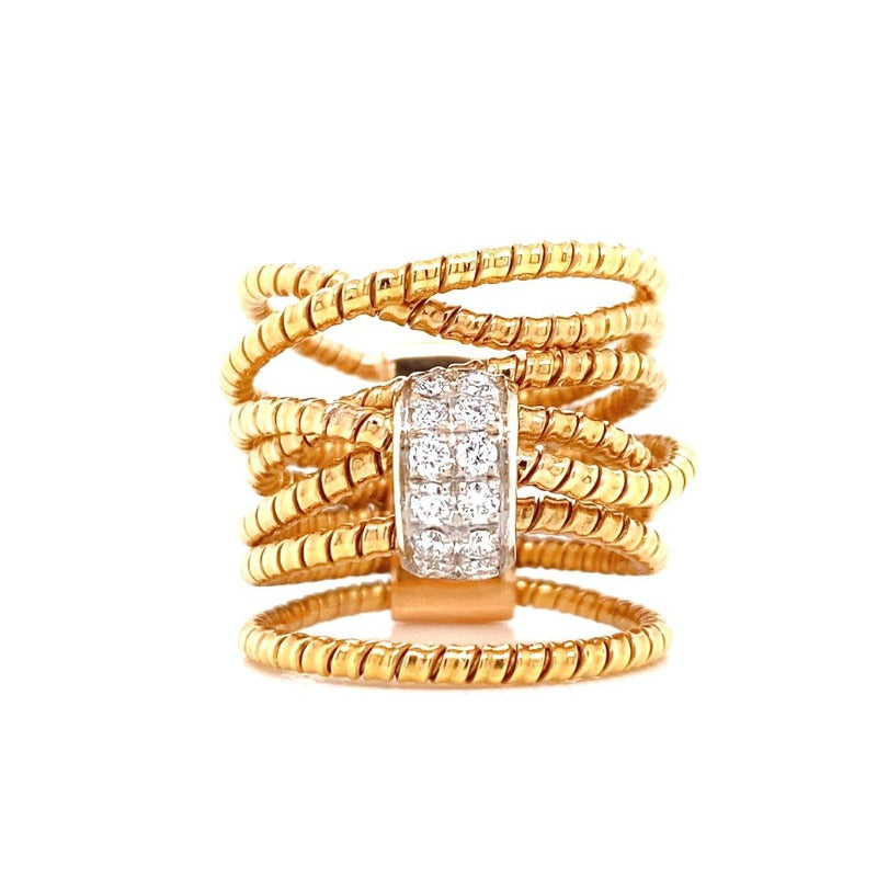 18kt Rose Gold Multi Strand Diamond Ring