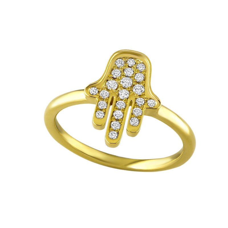 18kt Gold Diamond Hamsa Ring
