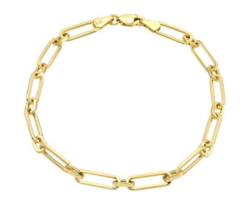 14kt Yellow Gold Alternating Paperclip Bracelet