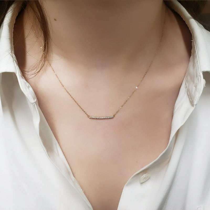 Gold Curved Diamond Bar Necklace