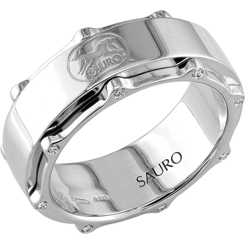 Sauro 18kt White Gold Large Rotating Diamond Ring