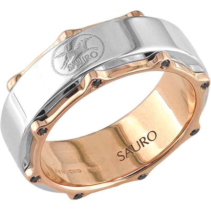Sauro 18kt Rose Gold Rotating White Ring