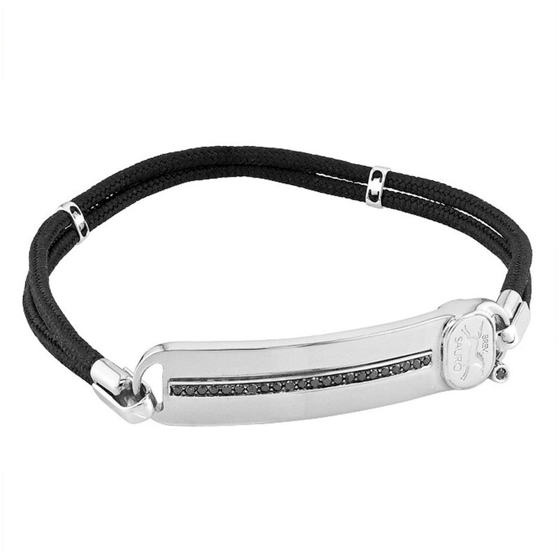 Sauro 18kt White Gold Rope Bracelet With Black Diamonds