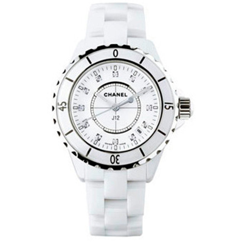 Chanel J12 White Ceramic Automatic 33mm Diamond Dial Watch H1628