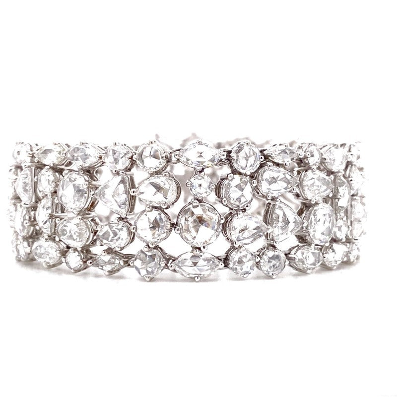 18kt White Gold Antique Cut Diamond Bracelet