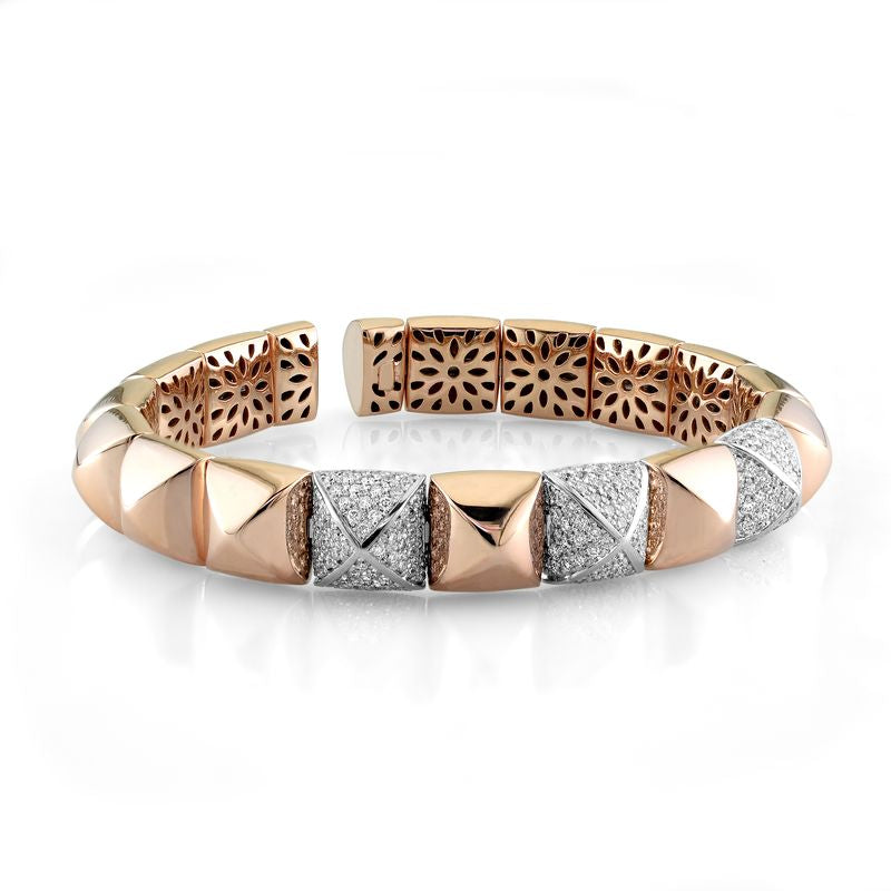 18kt Rose Gold Diamond Pyramid Bracelet