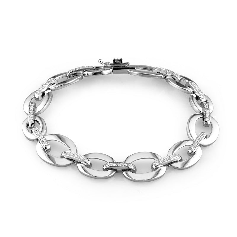 18kt White Gold Open Link Diamond Bracelet