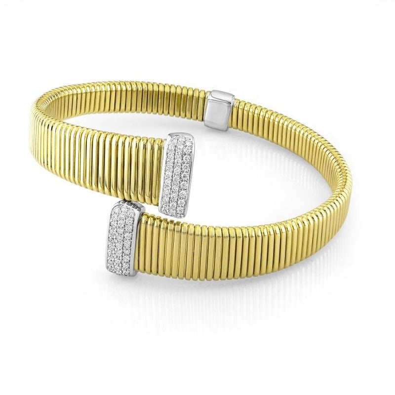 18kt Yellow Gold Flexible Diamond End Bangle