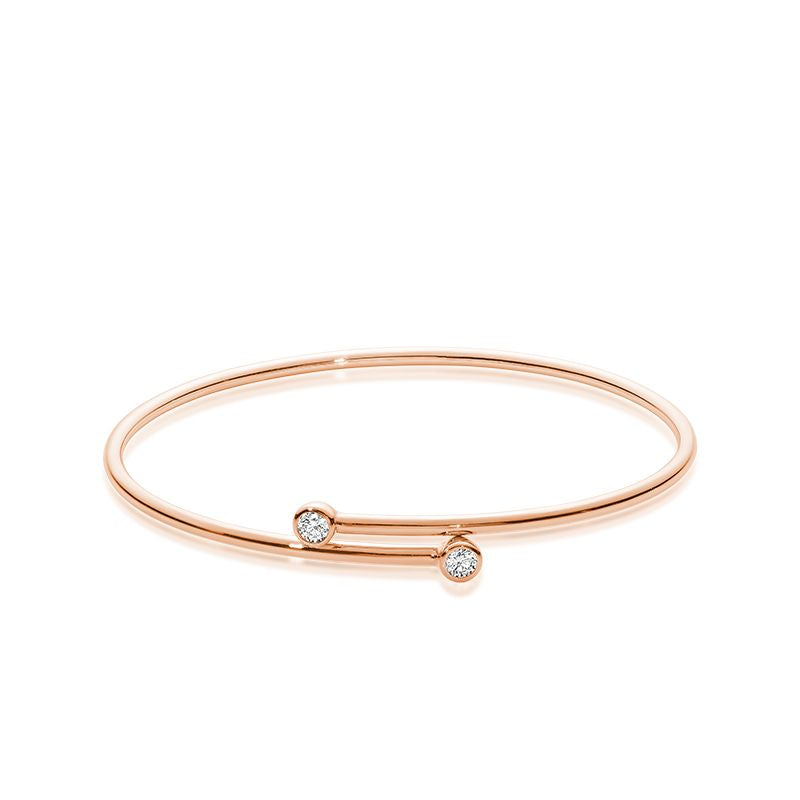14kt Rose Gold Diamond Crossover Bangle