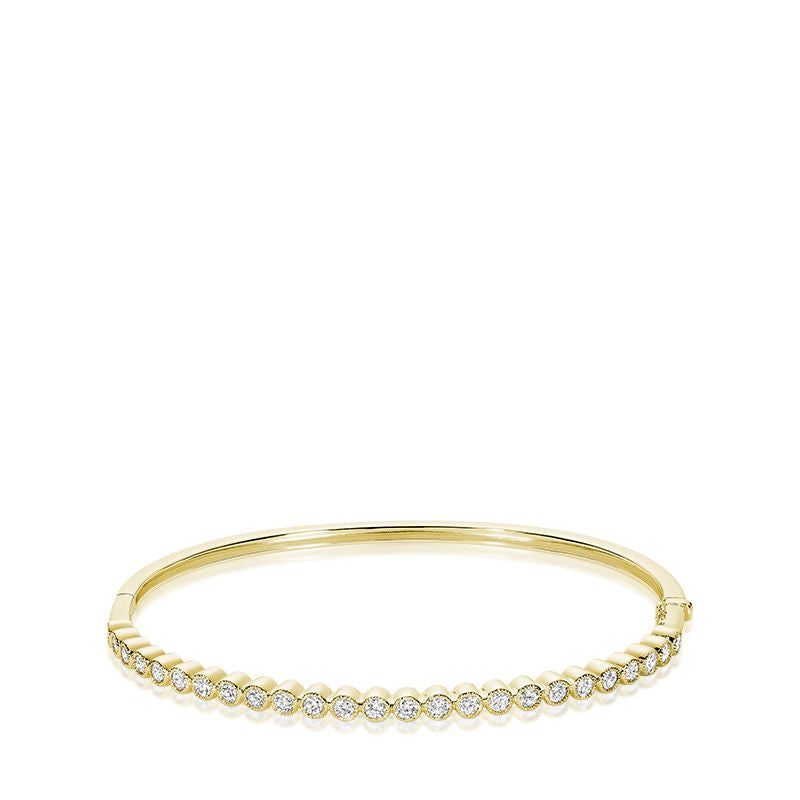 14kt Yellow Gold Semi Eternity Diamond Bangle