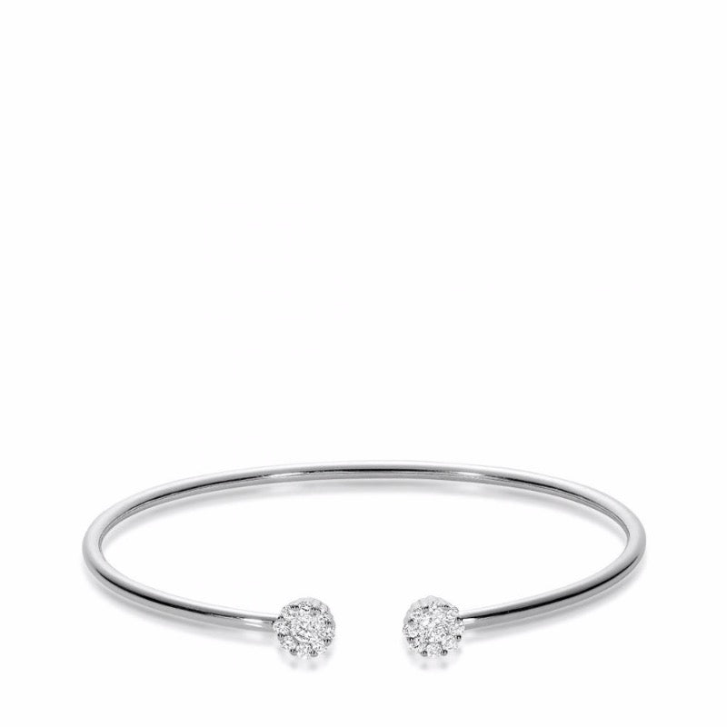 14kt White Gold Open Diamond Cluster Bangle
