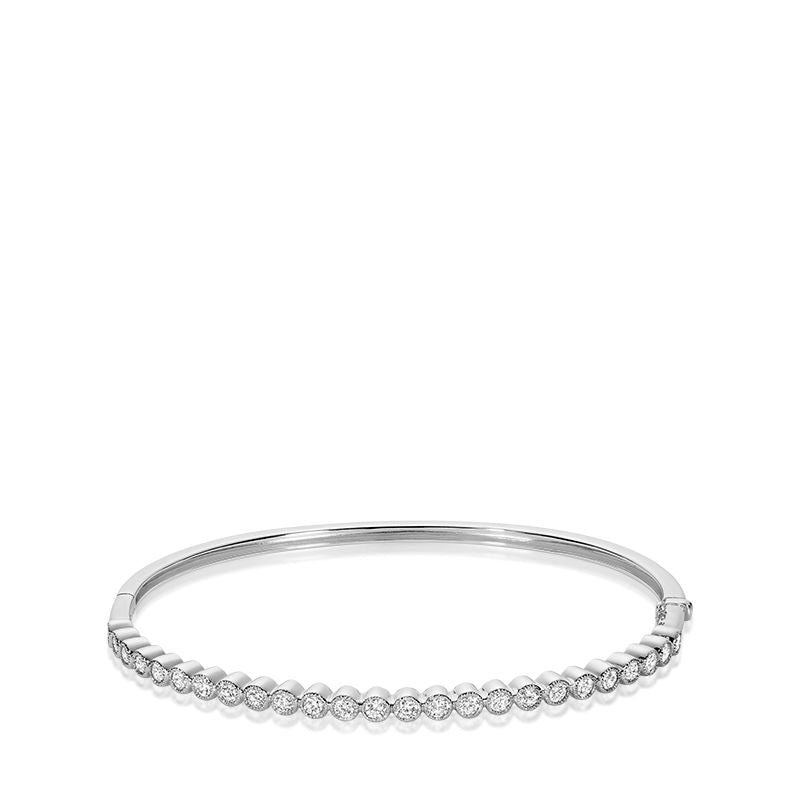 14kt White Gold Semi Eternity Diamond Bangle