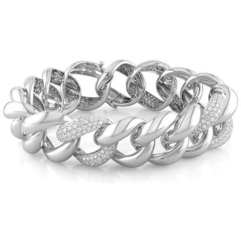 White Gold and Diamond Curb Link Bracelet DB1845