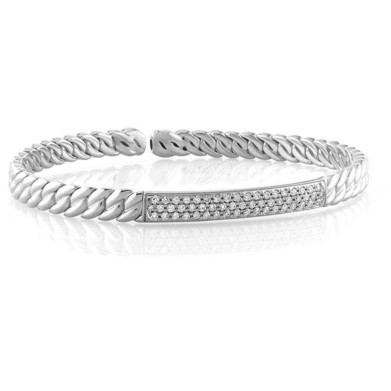 White Gold Curb 3 Row Diamond Bangle