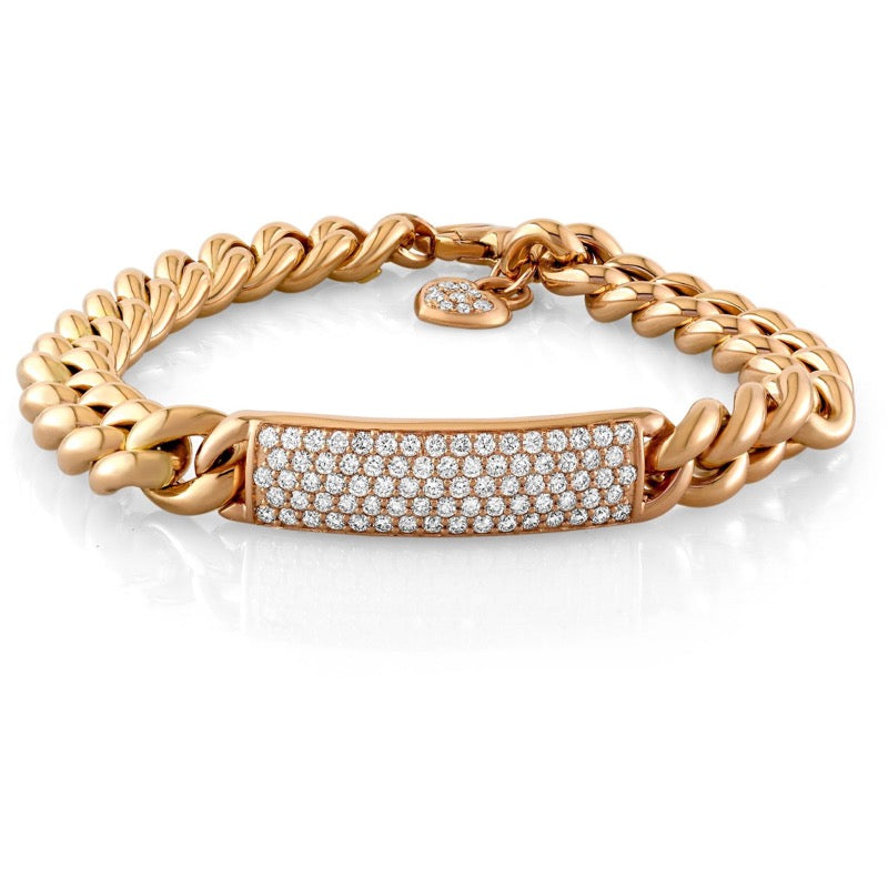 18kt Rose Gold Curb Link Diamond ID Bracelet