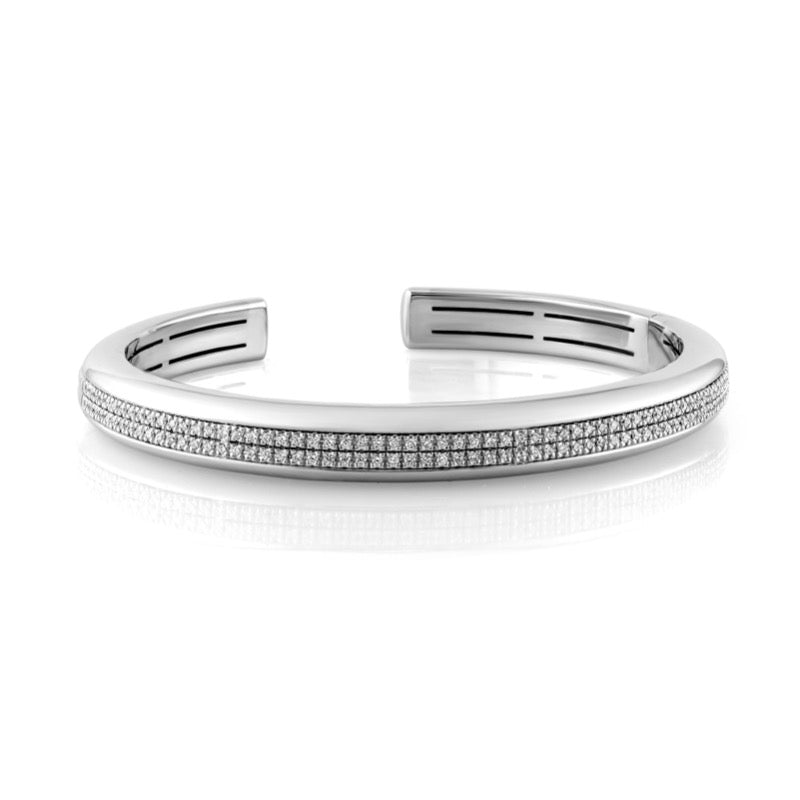 18kt White Gold Domed Double Line Bangle