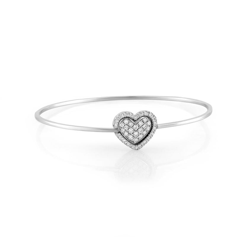 18kt White Gold Heart Cluster Bangle