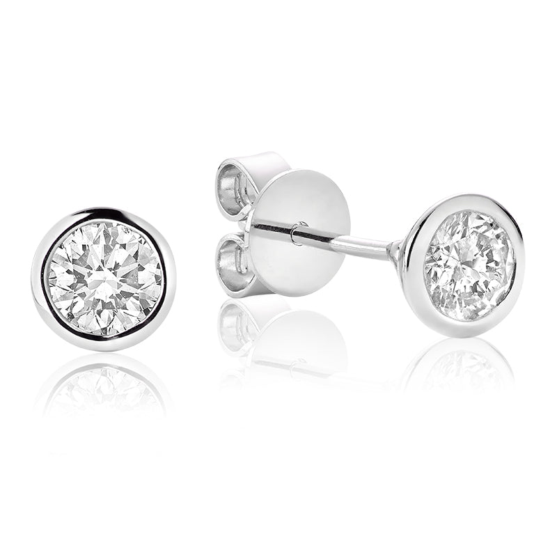 14kt White Gold Bezel Set Diamond Studs