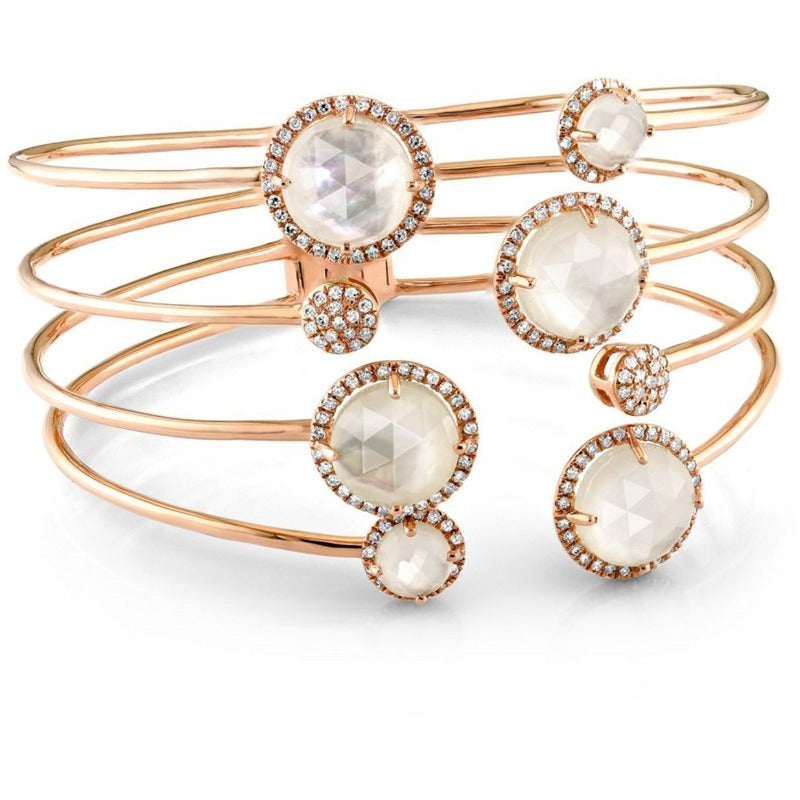 Rose Gold Mother of Pearl Diamond Bangle