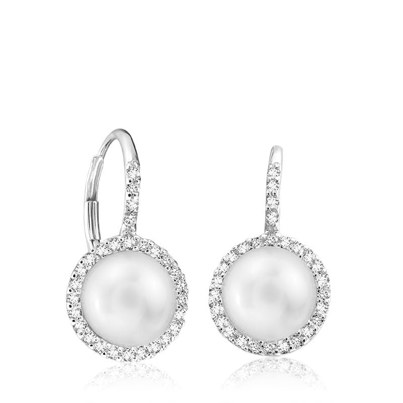 14kt White Gold Pearl and Diamond Drop Earrings