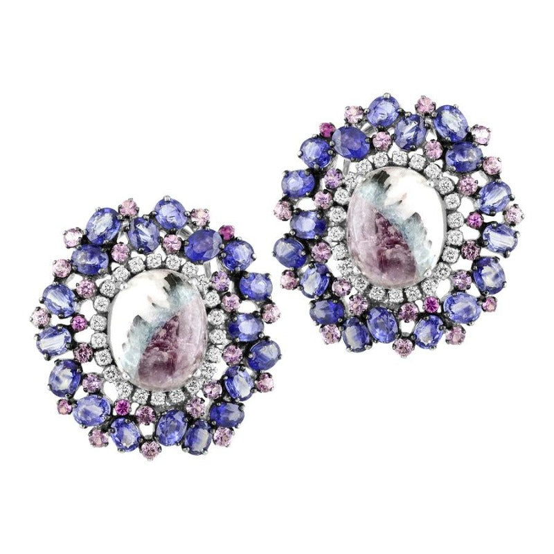 14kt Pink Sapphire, Blue Diamond and Pariba Earrings