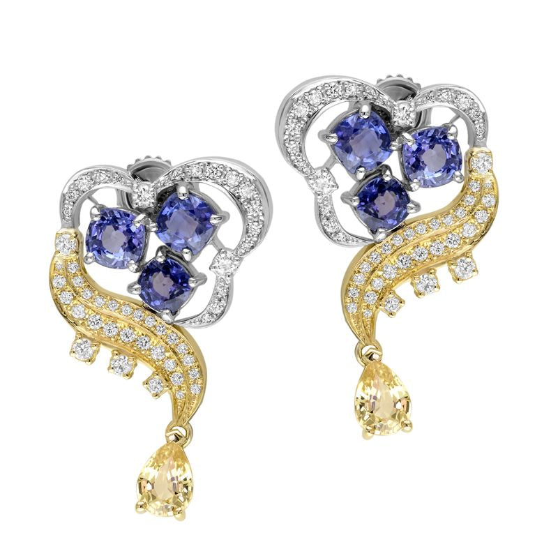 18kt Yellow And Blue Sapphire Diamond Drop Earrings