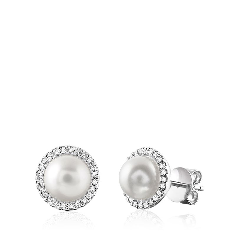 14kt White Gold Pearl and Diamond Halo Stud Earring
