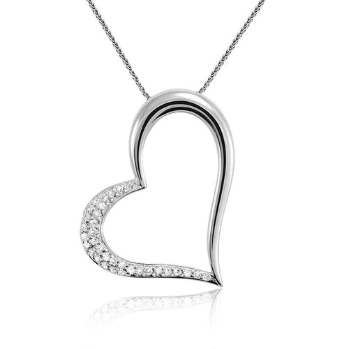 14kt White Gold Diamond Sideways Heart Necklace