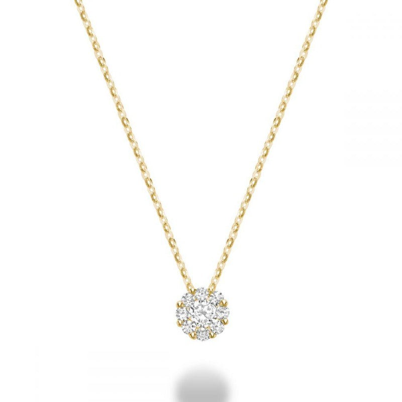 14kt Yellow Gold Cluster Necklace