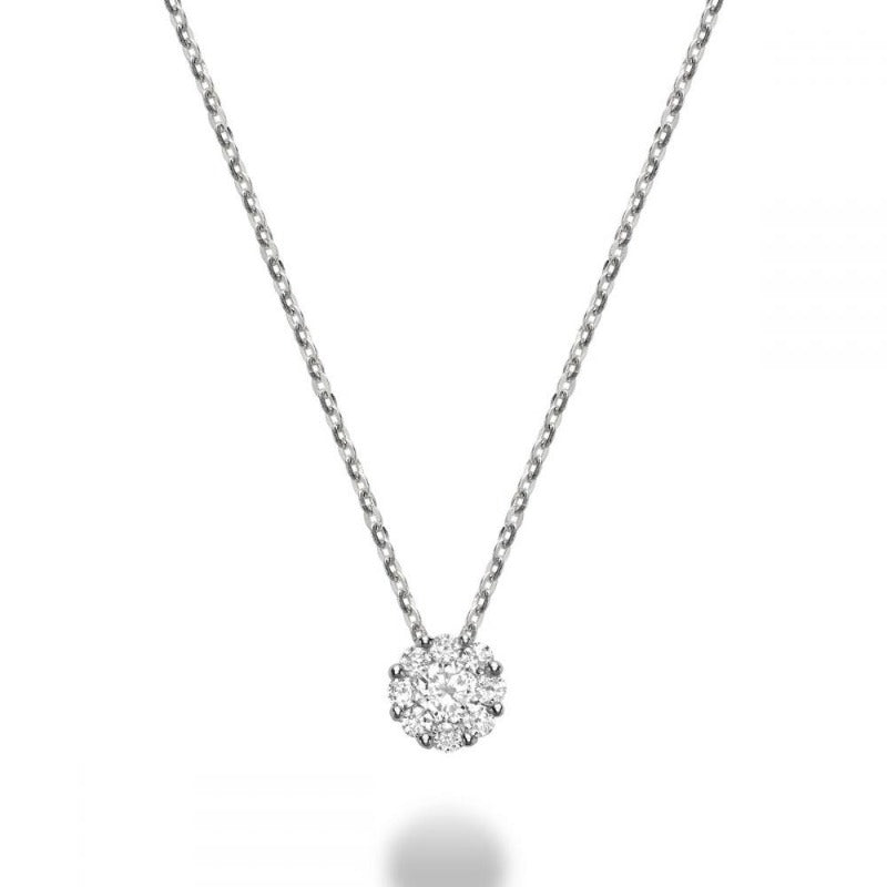 14kt White Gold Round Cluster Necklace