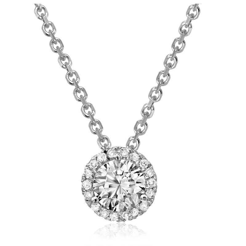 14kt White Gold Halo Diamond Cluster Necklace