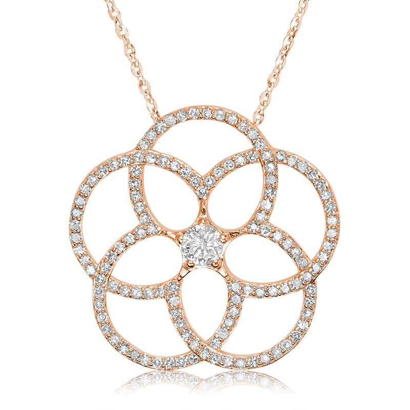 14kt Rose Gold Flower Necklace