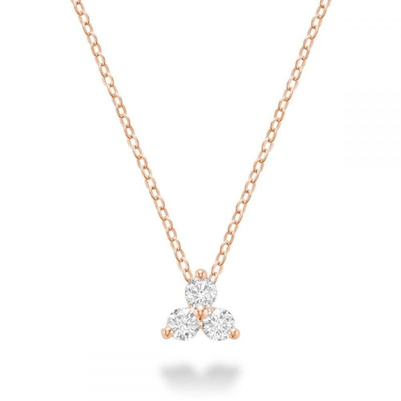 14kt Rose Gold Three Stone Necklace