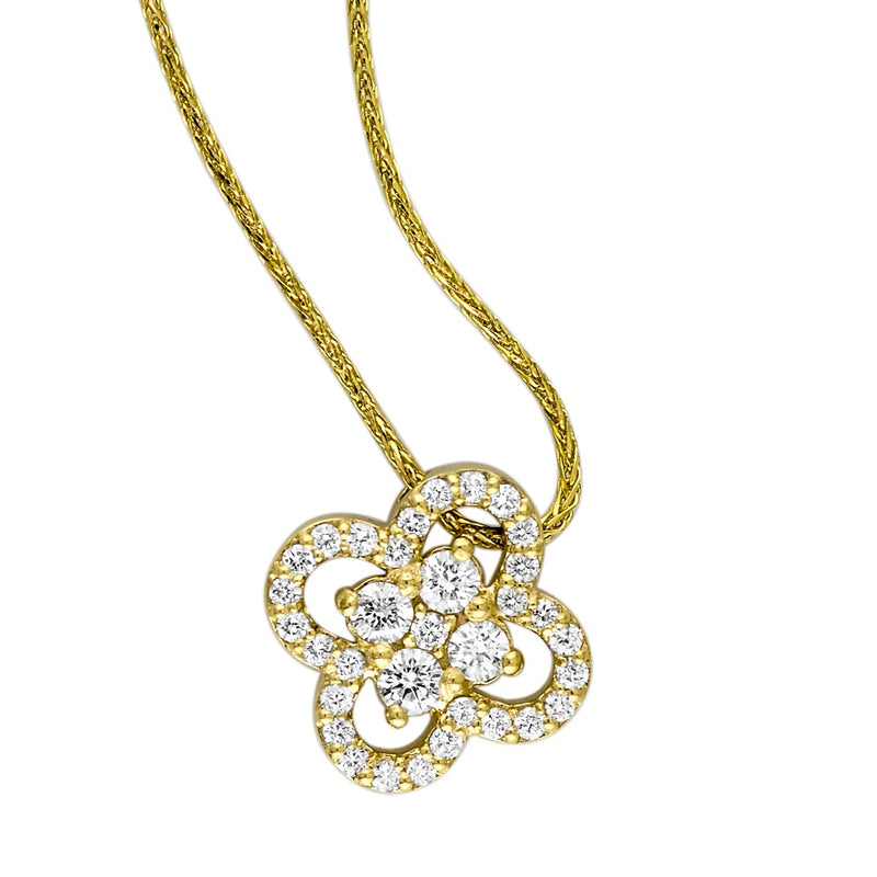 18kt Yellow Gold Diamond Clover Halo Pendant
