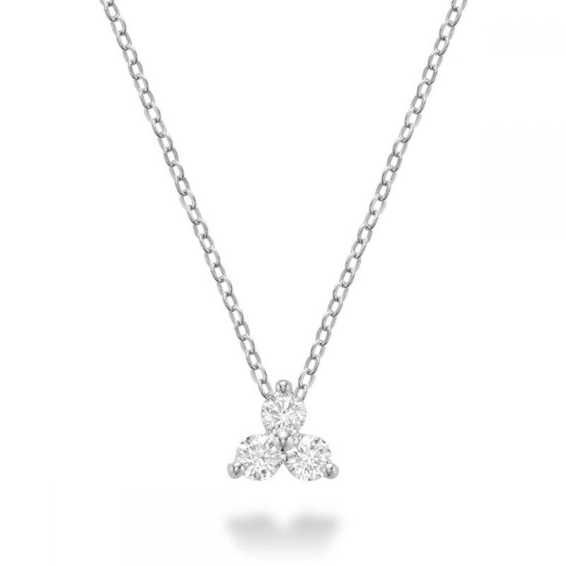 14kt White Gold Three Stone Necklace