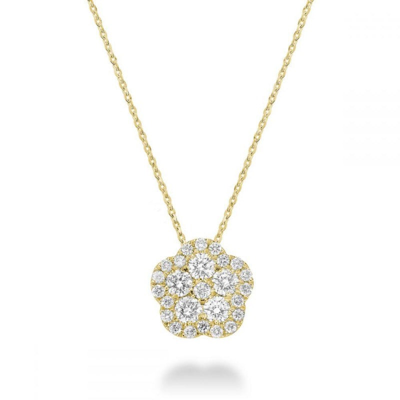 14kt Yellow Gold Floral Diamond Necklace