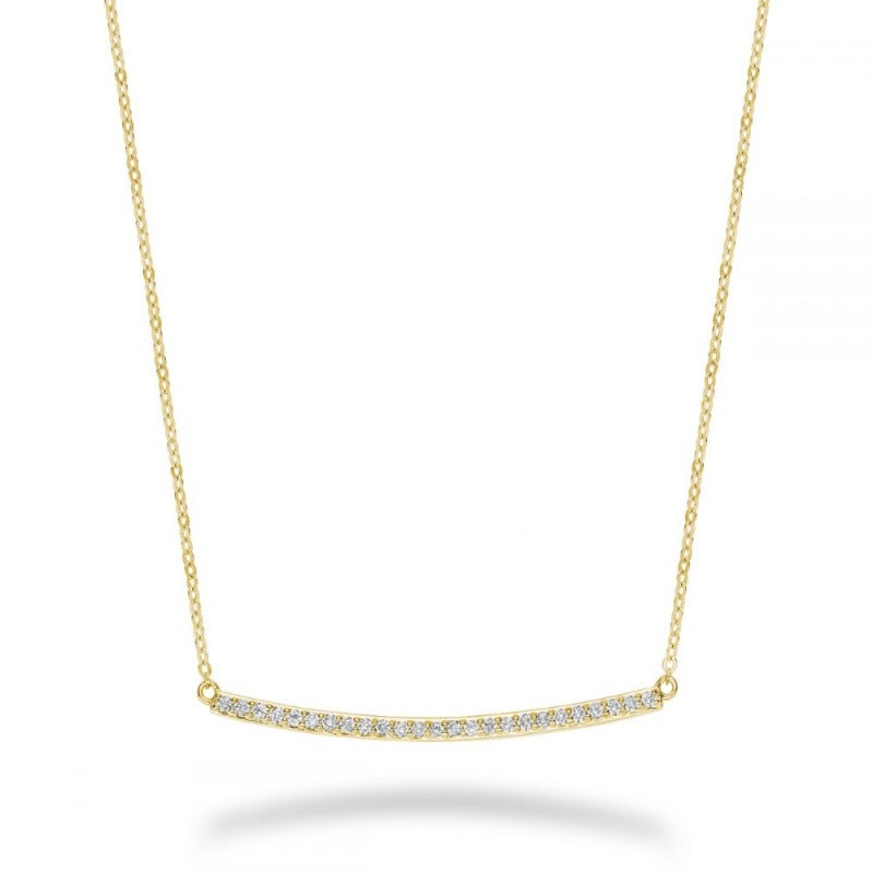 14kt Yellow Gold Diamond Bar Necklace