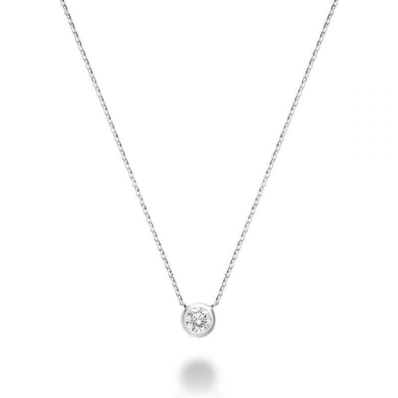 14kt White Gold Bezel Set Diamond Necklace