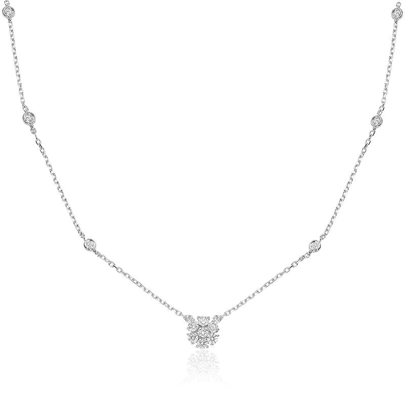 14kt White Gold Diamond By The Yard Cluster Necklace