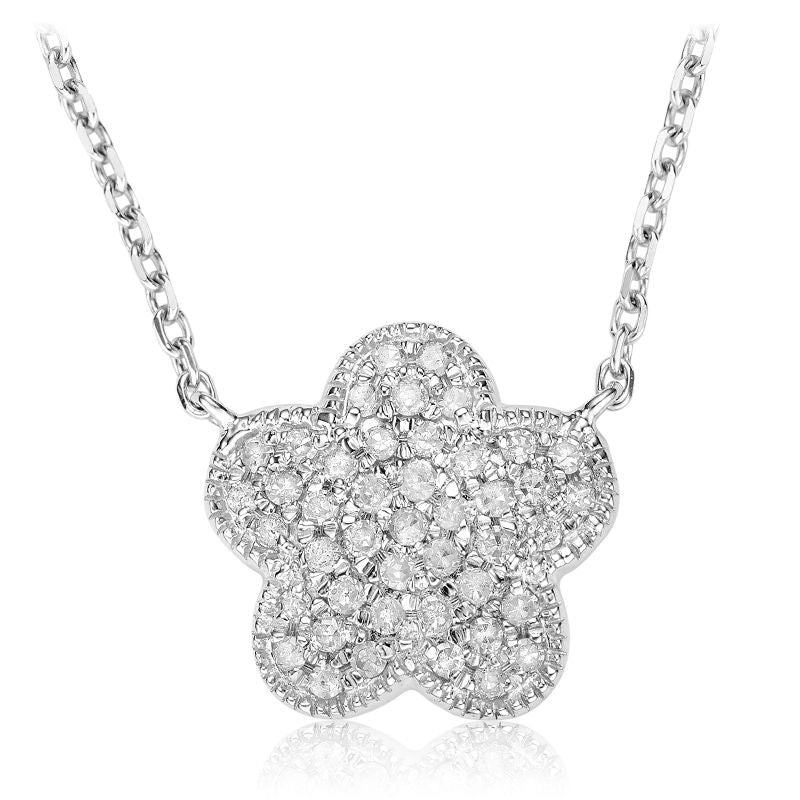 14kt White Gold Pave Flower Necklace