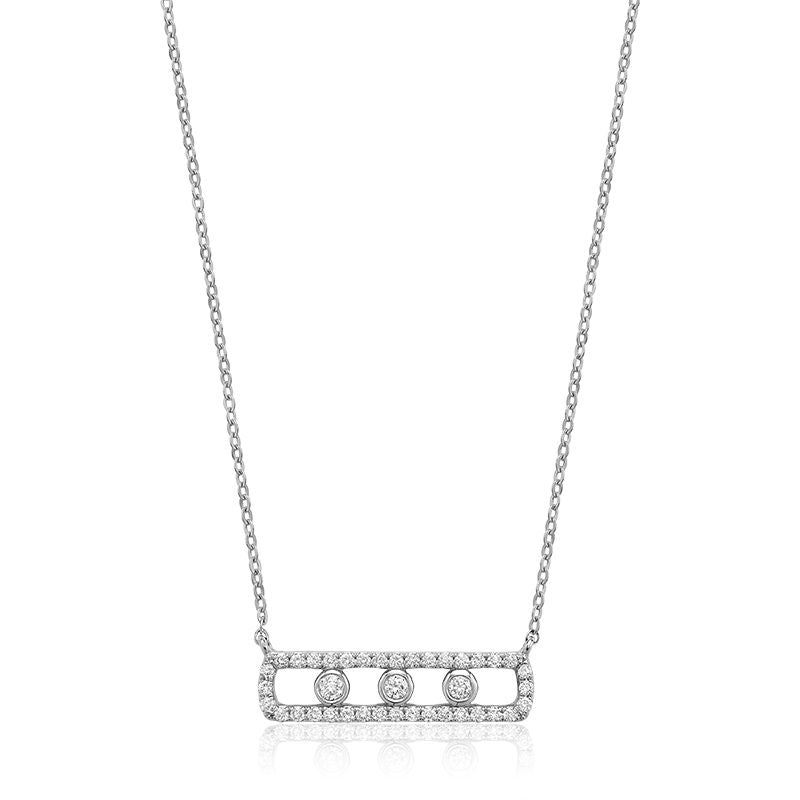 14kt White Gold Bar Necklace with Diamonds