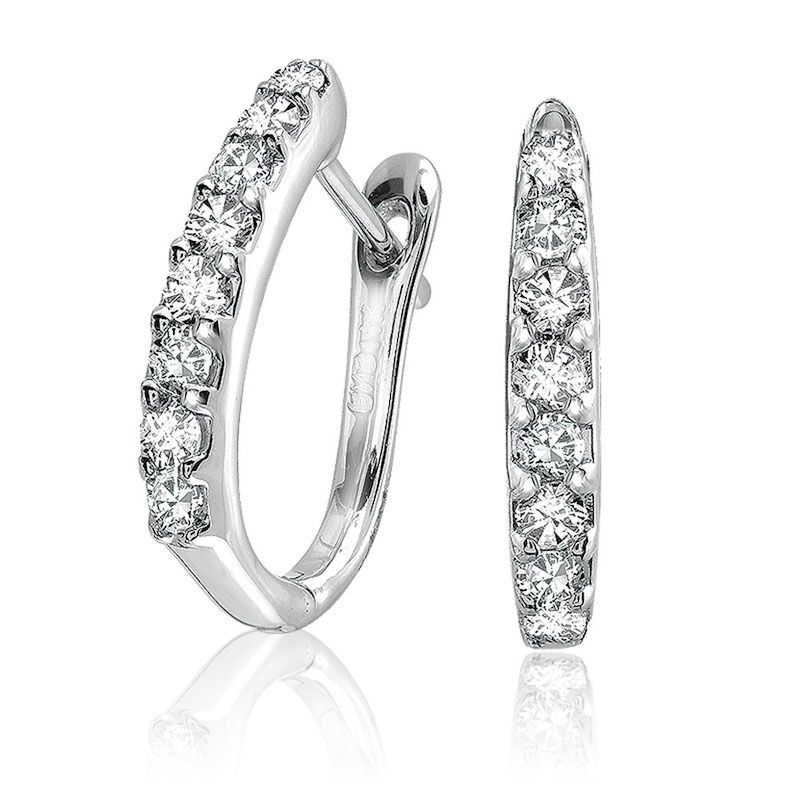 14kt White Gold Diamond Oval Hoop Earrings