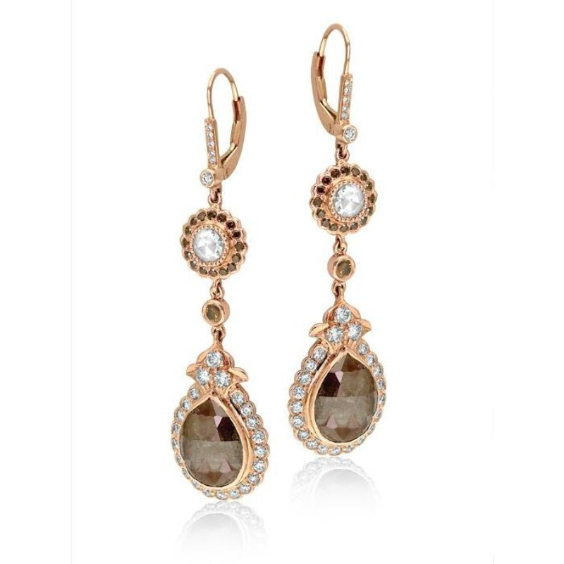 18kt Rose Gold Brown and White Diamond Earrings