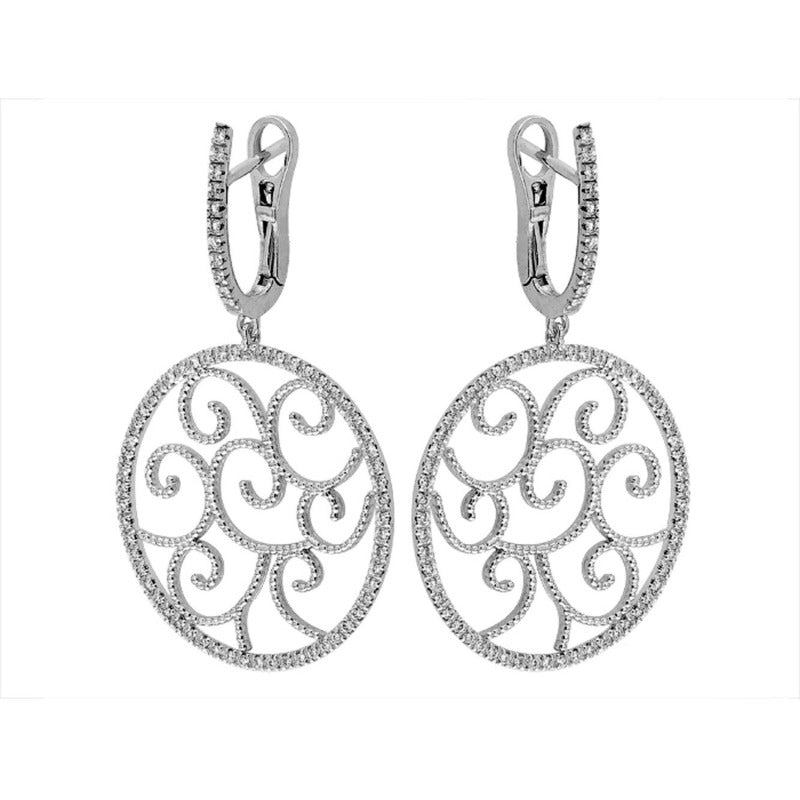 18kt White Gold Scrollwork Diamond Earrings